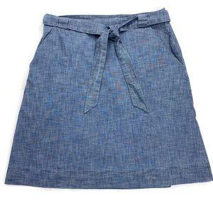 L.L. Bean Blue Chambray Wrap Skirt